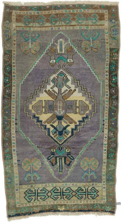 """Vintage Turkish Hand-Knotted Rug - 2' 1"""" x 3' 7"""" (25 in. x 43 in.)"""
