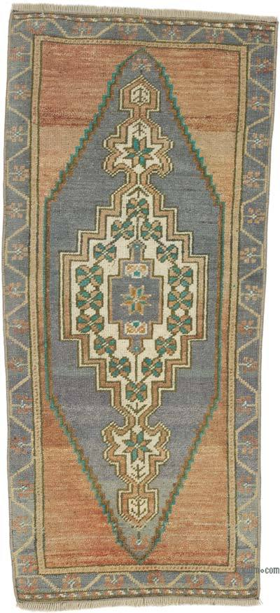 """Vintage Turkish Hand-Knotted Rug - 1' 8"""" x 3' 7"""" (20 in. x 43 in.)"""