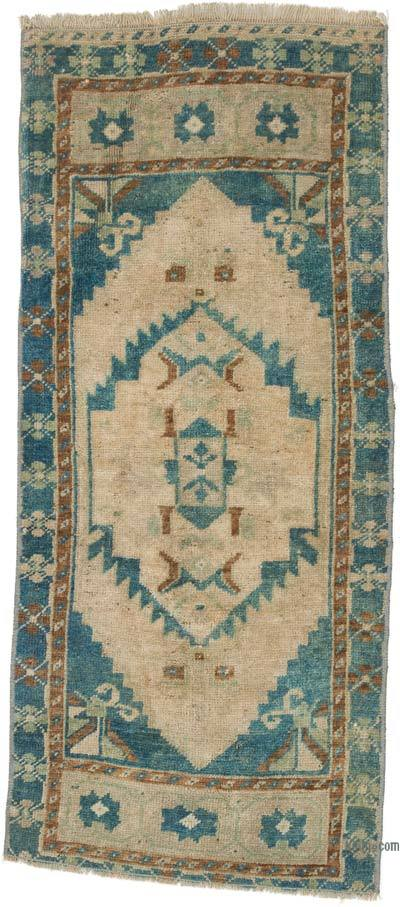"""Vintage Turkish Hand-Knotted Rug - 1' 7"""" x 3' 8"""" (19 in. x 44 in.)"""