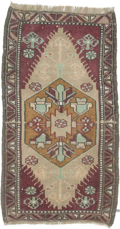 """Vintage Turkish Hand-Knotted Rug - 1' 11"""" x 3' 6"""" (23 in. x 42 in.)"""
