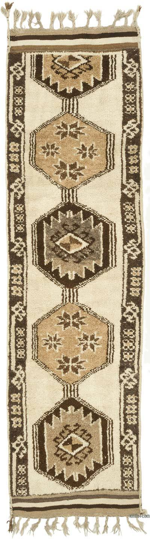 "Beige, Brown Vintage Turkish Runner Rug - 3' 3"" x 11' 7"" (39 in. x 139 in.)"
