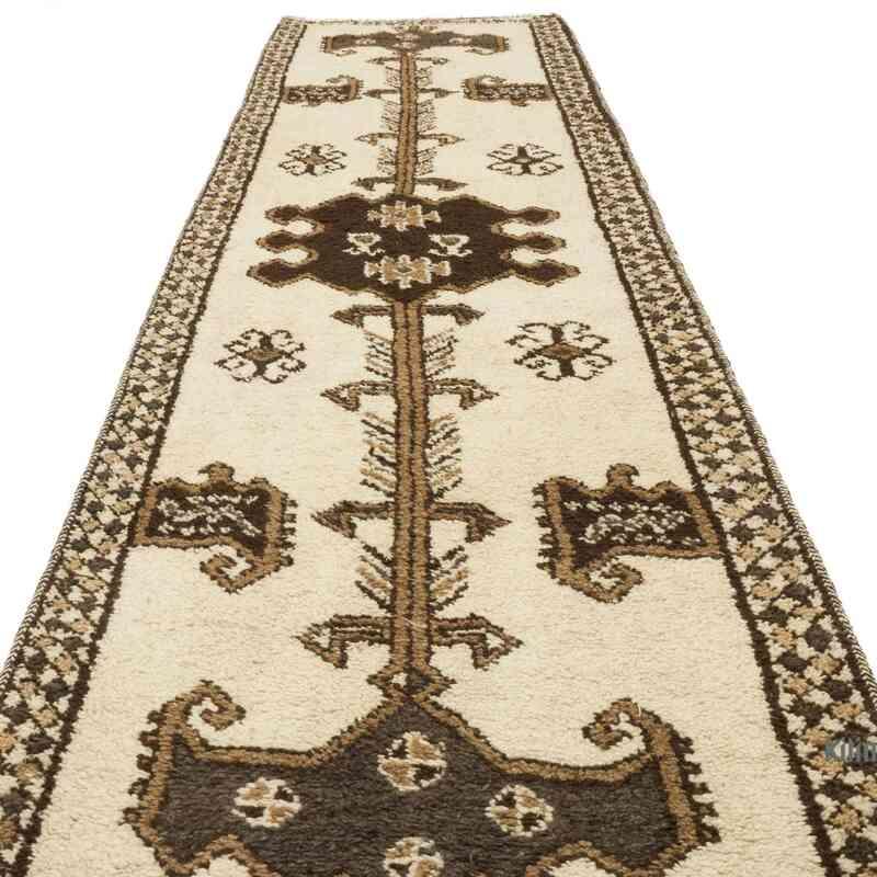 "Beige, Brown Vintage Turkish Runner Rug - 3' 7"" x 13' 4"" (43 in. x 160 in.) - K0057258"