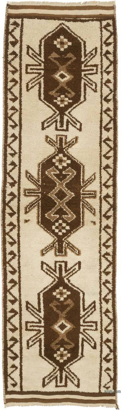 "Beige, Brown Vintage Turkish Runner Rug - 3' 1"" x 10' 9"" (37 in. x 129 in.)"