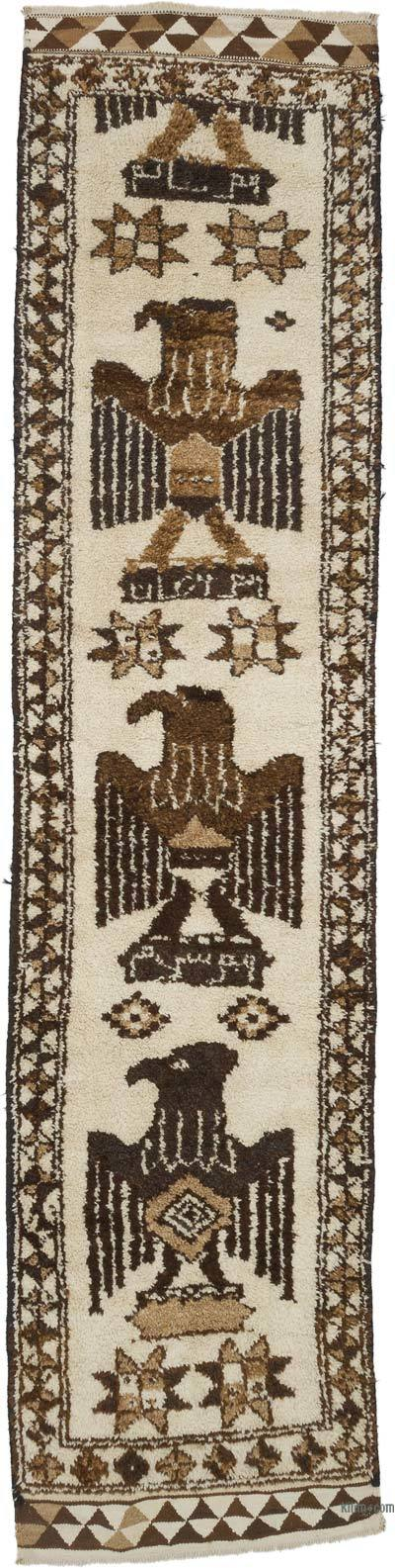 Bej, Kahverengi Vintage Anadolu Yolluk - 94 cm x 393 cm