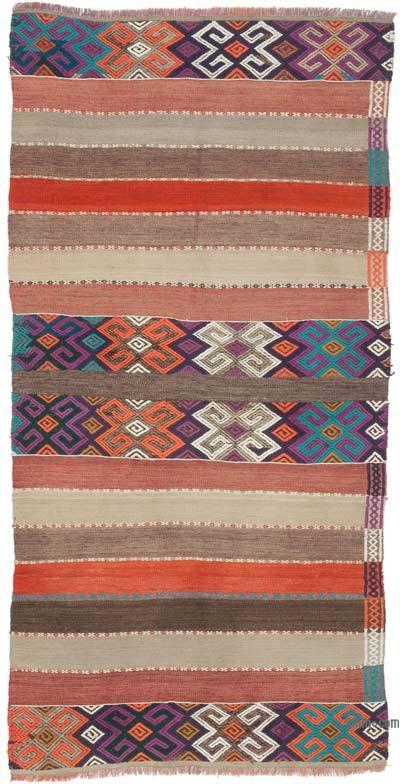 """Multicolor Vintage Urfa Kilim Rug - 3' 1"""" x 6' 1"""" (37 in. x 73 in.)"""