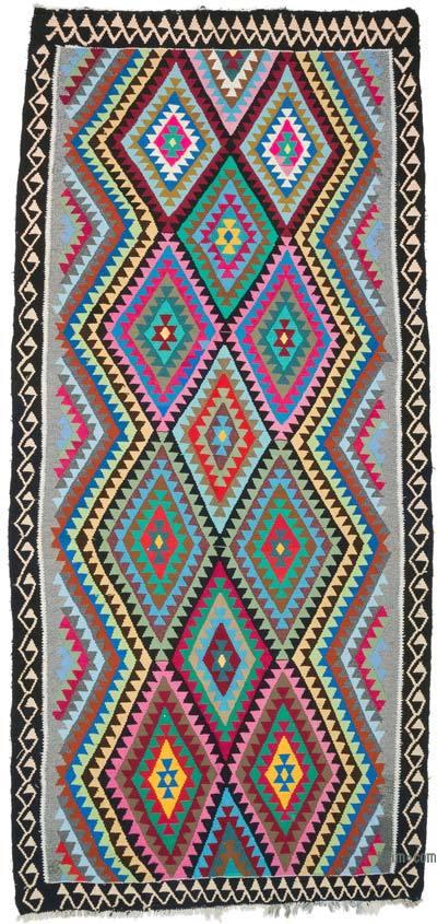 """Multicolor Vintage Sivas Kilim Rug - 5' 4"""" x 12'  (64 in. x 144 in.)"""