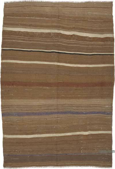 "Brown Vintage Anatolian Kilim Rug - 5' 6"" x 7' 9"" (66 in. x 93 in.)"