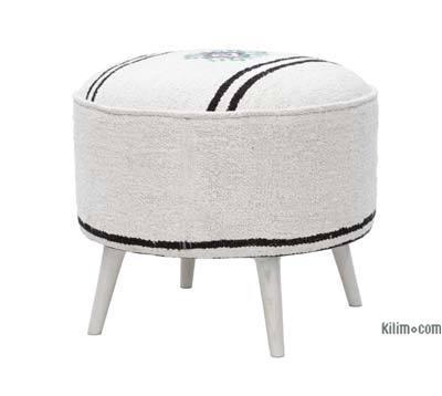 Vintage Hemp Kilim Upholstered Stool