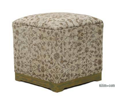 Vintage Wool Rug Upholstered Cube Ottoman
