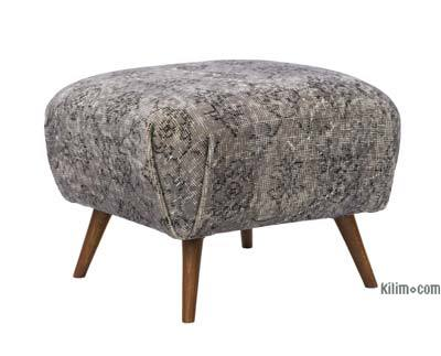 Vintage Rug Upholstered Ottoman