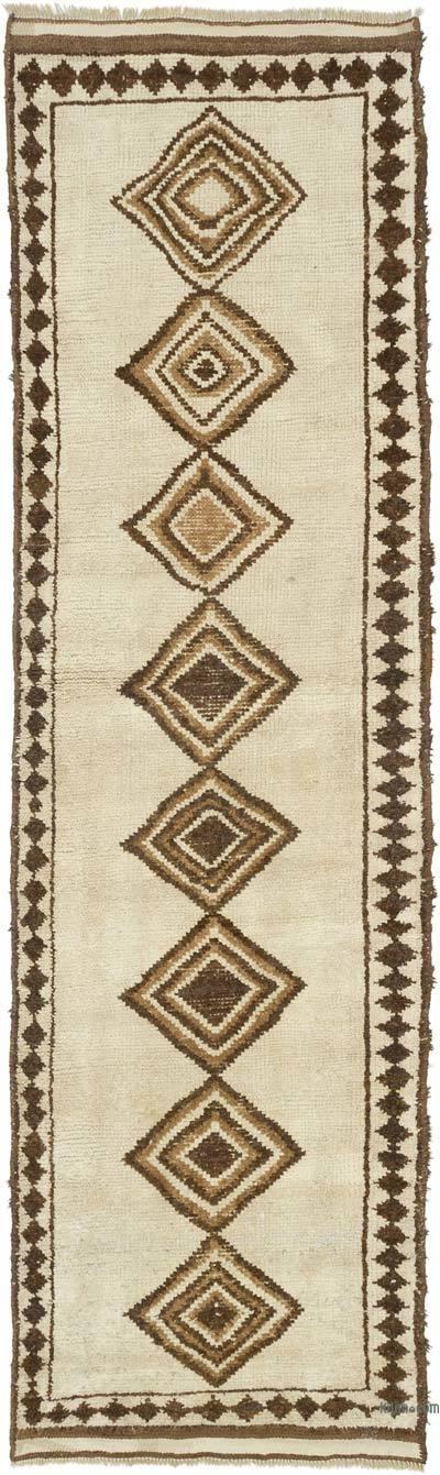 Bej, Kahverengi Vintage Anadolu Yolluk - 101 cm x 350 cm
