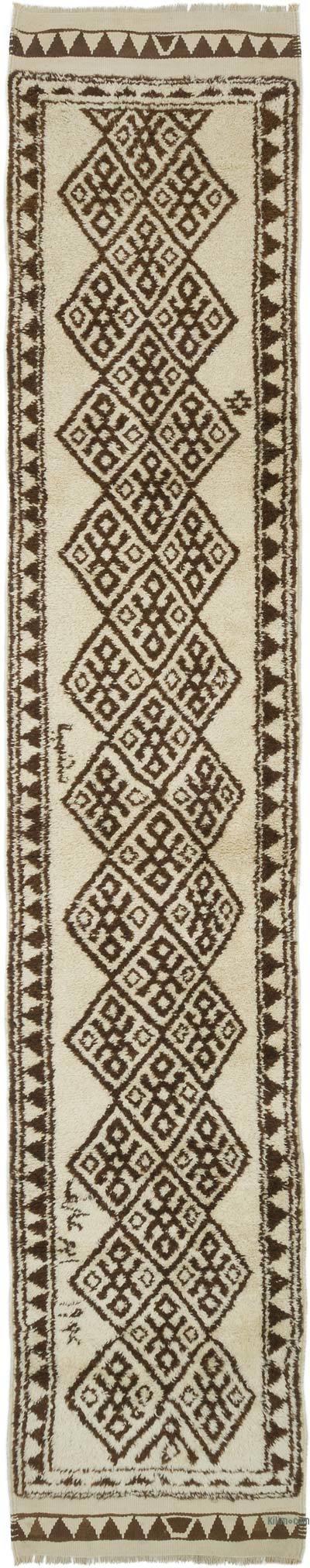 "Beige, Brown Vintage Turkish Runner Rug - 2' 8"" x 14' 1"" (32 in. x 169 in.)"