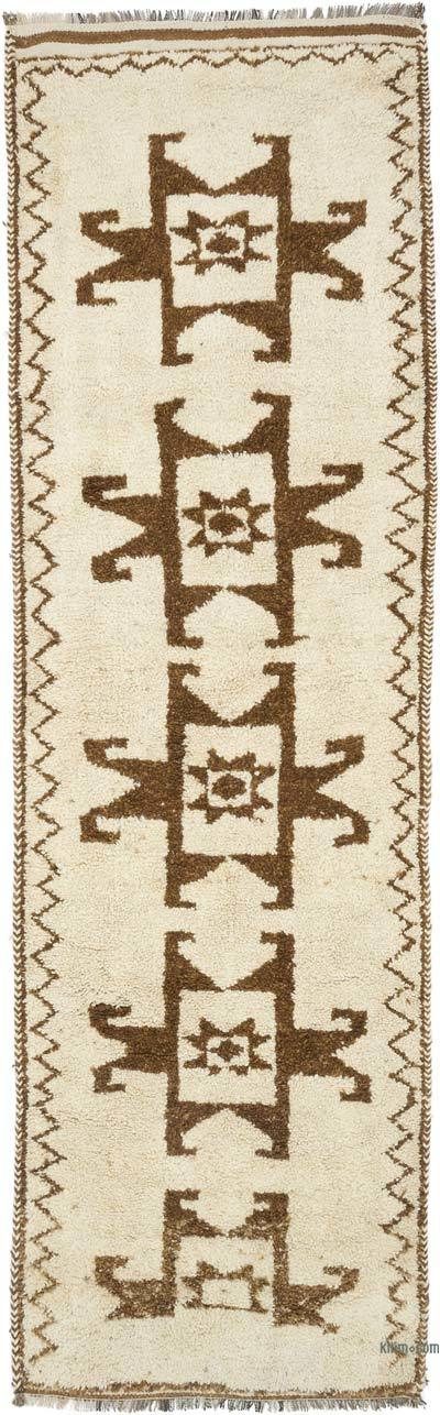 Bej, Kahverengi Vintage Anadolu Yolluk - 100 cm x 326 cm