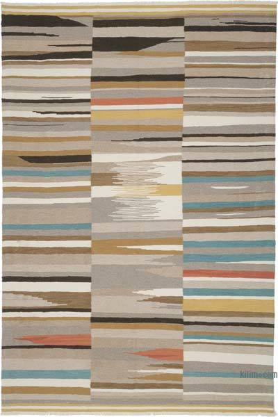 """New Handwoven Turkish Kilim Rug - 6' 7"""" x 9' 10"""" (79 in. x 118 in.)"""